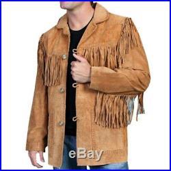 100% Genuine Leather Mens Native American Cowboy Western Jacket coat Fringe@ka20