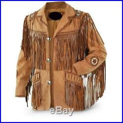 100% Genuine Leather Mens Native American Cowboy Western Jacket coat Fringe@ka51