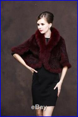100% Real lavender Knitted Mink Fur Fox Collar Cape Stole Shawl Scarf Coat Gray