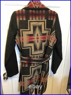 152. Pendleton Jacquard southwestern Mexican Navajo blanket wrap coat jacket M