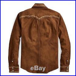 $1800 RRL Ralph Lauren Limited Edition Western Suede Leather Shirt Jacket- XL