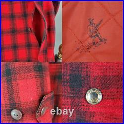 1950s VTG WOOLRICH Size 40 Large USA Made Mens Wool Plaid Mackinaw Jacket Coat