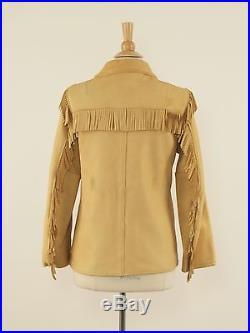 1970s UBER Vintage Tan Buckskin Western Fringe Jacket Womens 38