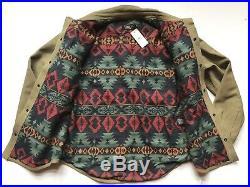 $2200 RRL Ralph Lauren Tan Waxed Sheepskin Western Overshirt Jacket- MEN- L