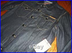 $246 True Religion Red Line Selvedge Raw Western Phantom Edison Denim Jacket 3xl