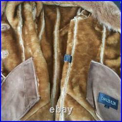$2600charles Kleinsz S/mred Orange Genuine Fox Fur Real Leather Coat Jacket