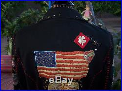 $278Western Biker Embroidered Pin Patches HONOR GUARD JacketMDouble D Ranch