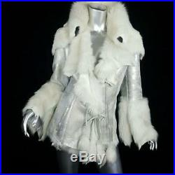 $3000sz Lgenuine Silver Leather Real Off White Sheepskin Fur Coat Jacket