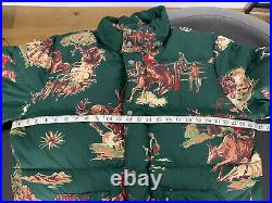 $398 New Polo Ralph Lauren Large Green Rodeo Western Puffer Down Jacket RRL Coat