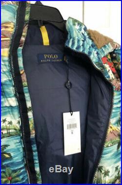 $398 New Polo Ralph Lauren Small Hawaiian-Print Puffer Down Jacket RRL Coat 750