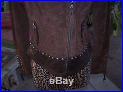 $399Studs Concho Western Biker Leather Suede JacketMCripple CreekEUC