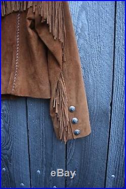 $400 Cripple Creek Southwest Fringe Boho Western Suede Jacket Size L