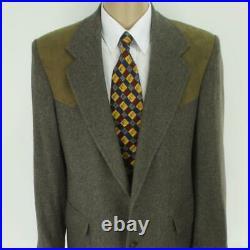 42 L Pendleton Brown Tweed Wool Leather Mens Western Jacket Sport Coat Blazer
