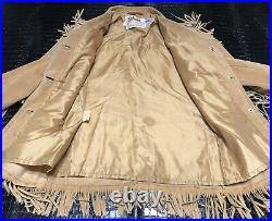 70s Vintage Schott Western Fringed Suede Jacket Coat Size 12 Hippie