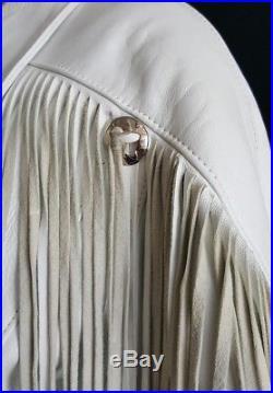 80's Vtg Reed Sportswear Women White Leather Fringe Motorcycle/Western Jacket