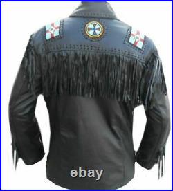 American Native Eagle Beaded Cowhide Leather Western Jacket With Fringes Coat