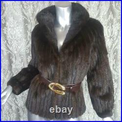 Avantisz Xs/svintage Genuine Real Ranch Mahogany Brown Mink Fur Coat Jacket