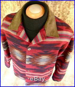 BIG XL PENDLETON High GRADE WESTERN Wear WOOL BLANKET COAT Jacket NAVAJO Leather