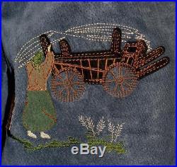 BLUE LEATHER JACKET Coat German Women Hunting EMBROIDERY Western Eu 44 B46 16 L