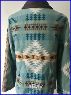 BLUE PENDLETON HIGH GRADE WESTERN Wear WOOL Blanket COAT Jacket LARGE