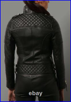 BRAND NEW Women's Genuine Lambskin Real Leather Jacket Black Stylish Biker Coat