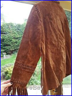 Biba Tan Vintage Native American Leather Fringe Beaded Western Boho Jacket