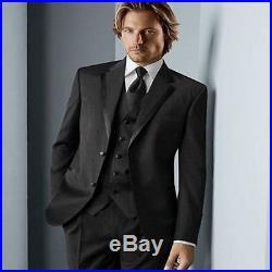 Black Mens Coat Groom Western Wedding Tuxedo Blazer Suits Jacket+Pants+vest+tie