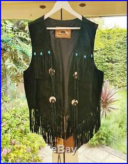 Black Native American Vintage Waistcoat Western Leather Jacket Coat Fringe 80s
