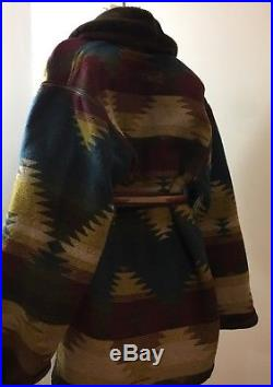 Blue Duck Wool Western Aztec Shearling Collar Belted Coat Womens L Made In USA