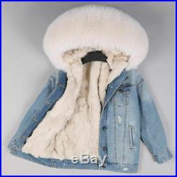Brand New Denim & White / Arctic Fox / Rex Rabbit Fur Coat / Jacket L/xl/14/16