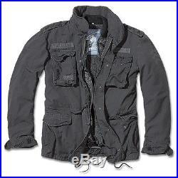 Brandit M65 Giant Feldjacke Schwarz, Parka US Style Jacke mit Futter