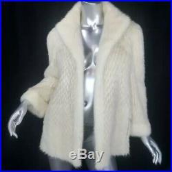 Breathtaking Reversibles/mgenuine Real Blonde Off White Mink Fur Coat Jacket