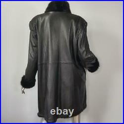 Brisal/xlvintage Genuine Black Mink Fur Real Leather Reversible Coat Jacket