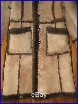 Brown Rancher Western Marlboro Man Sheepskin Shearling Leather Jacket Coat Sz 38
