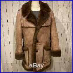 Brown Stratojac Shearling Sheepskin Marlboro Man Rancher Western Coat Size 44