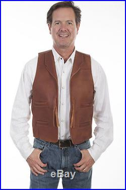 Brown Western Leather John Wayne Duke Cowboy Vest Scully Wahmaker Size S-4xl New