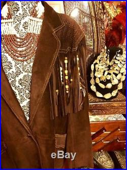 CACHE Western Jacket Coat Suede Leather Fringe Beads Tribal Brown USA Women L