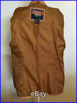 CRIPPLE CREEK Leather Jacket Coat Stitching Western MEDIUM Womens Soft Camel