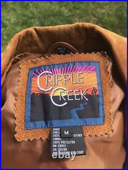 CRIPPLE CREEK WESTERN RUSTt SUEDE Fringe Coat Jacket Fully Lined SZ M BOHO CHIC
