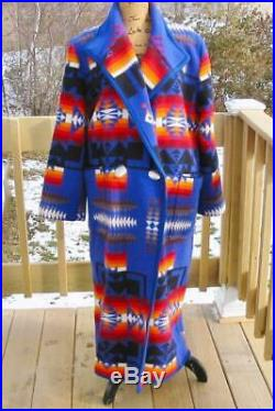 Cobalt Blue Pendleton Blanket Jacket Maxi Coat Handmade USA Women's VGUC