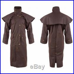 Cowboy Oilskin Duster Western Australian Drover Coat Jacket Waterproof S M L XL