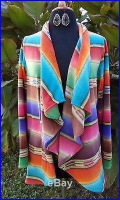 Cowgirl gypsy Serape jacket Southwestern boho Western warm LARGE
