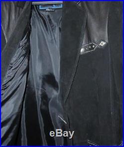 Cripple Creek Black Leather & Suede Western Coat Jacket Size L NOS