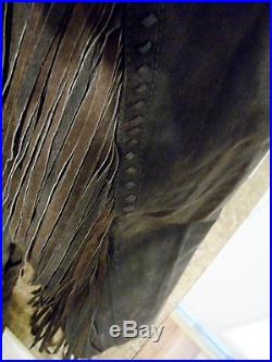 Cripple Creek Chocolate Brown Leather Fringe Embossed Western Coat Jacket Size L