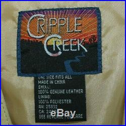 Cripple Creek Womens Vintage Western Shawl Capelet Cowgirl Fringe Leather Cape