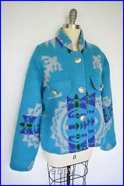 Custom Pendleton wool Aztec southwest Mexican Navajo blanket coat jacket concho