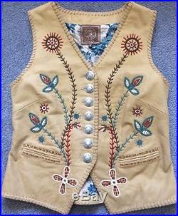 DOUBLE D RANCH Women's Beige Genuine Leather Beaded Western Vest Medium
