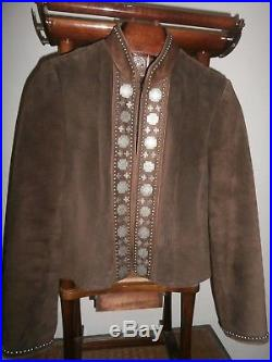 DOUBLE D RANCH Womens Leather Western Jacket Medium Embellished/Studded