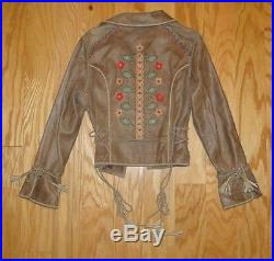 Double D Ranch Leather Tassle Jacket Size S Distressed Brown Western Embroidery