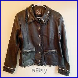 Double D Ranch Medium Black Leather Jacket Coat Studs Fringe Western Rodeo